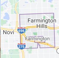 Map of Farmington Hills, Michigan, limits