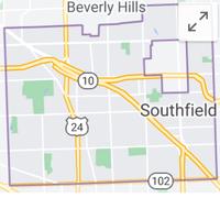 Map of Southfield, Michigan, limits