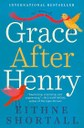 Cover of book Grace After Henry, teal blue, with birds and ribbons