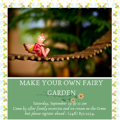 Elf in red on a brown branch and event name (Make Your Own Reading Garden) and date/time (September 19 at 11am)