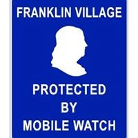 White logo (Benjamin Franklin) on blue background