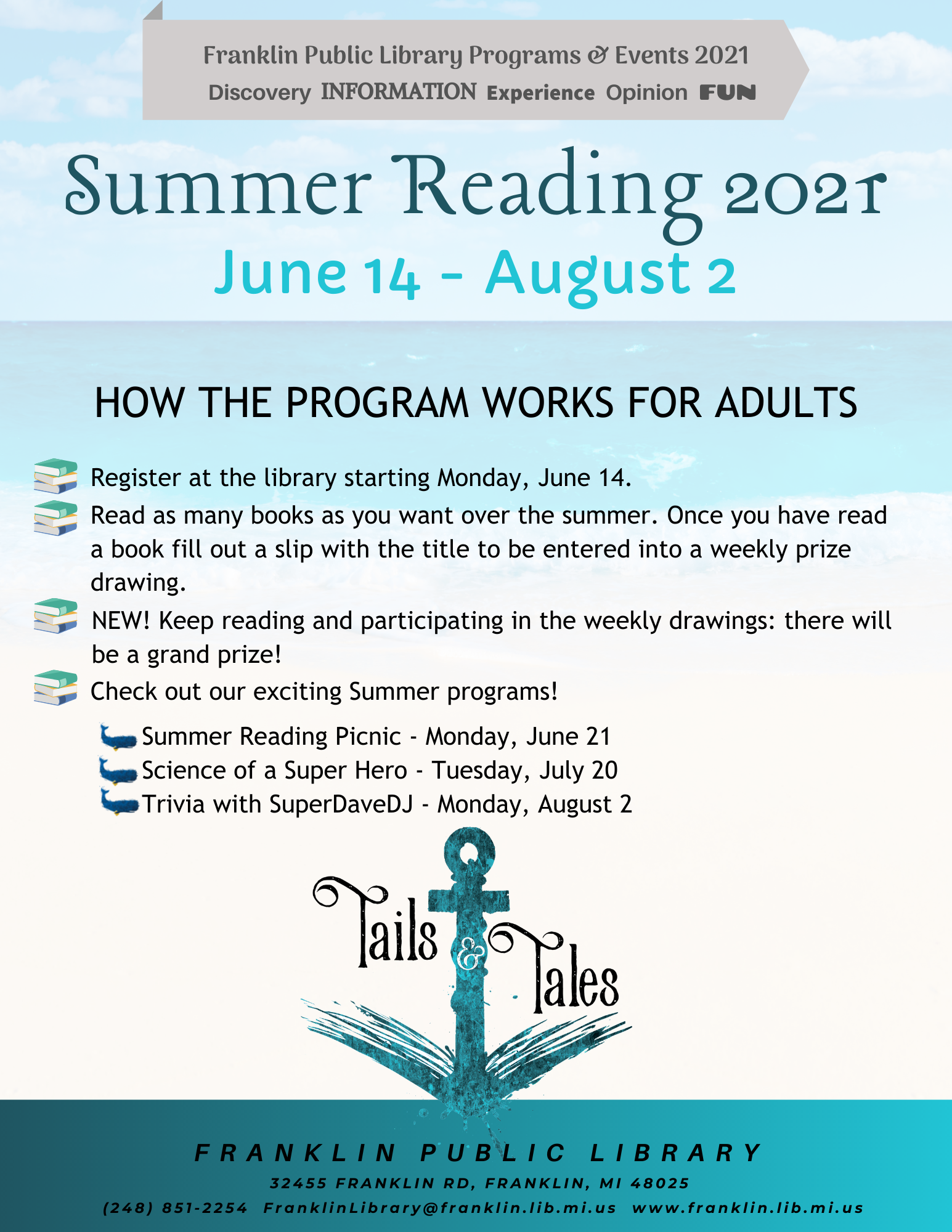 Sea blue background with blue anchor and Summer Reading Rules for adults
